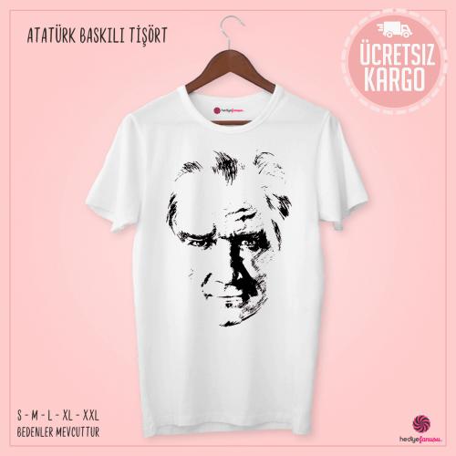 Atatürk Baskılı Beyaz Renkli Tişört