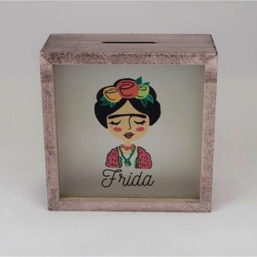 Frida Kahlo Ahşap Ve Cam Tasarımlı Kumbara