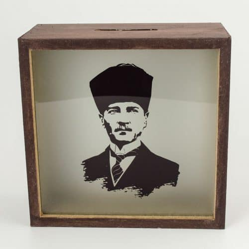 Atatürk Ahşap Ve Cam Tasarımlı Kumbara